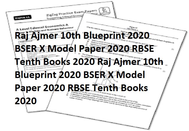 Raj Ajmer 10th Blueprint 2021 BSER X Model Paper 2021 RBSE Tenth Books 2021