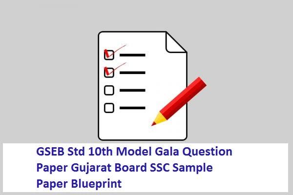 GSEB Std 10th Model Gala Question Paper 2021 Gujarat Board SSC Sample Paper 2021 Blueprint